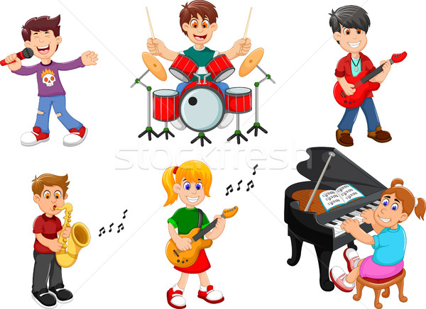 collection of children singing and playing musical instruments Stock photo © jawa123
