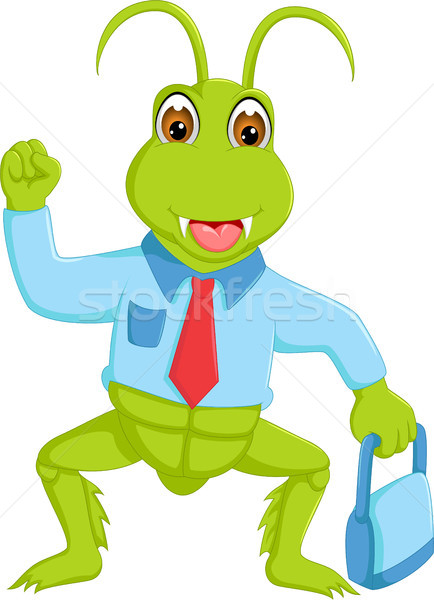 funny grasshopper cartoon standing with smile and bring bag with hand up Stock photo © jawa123