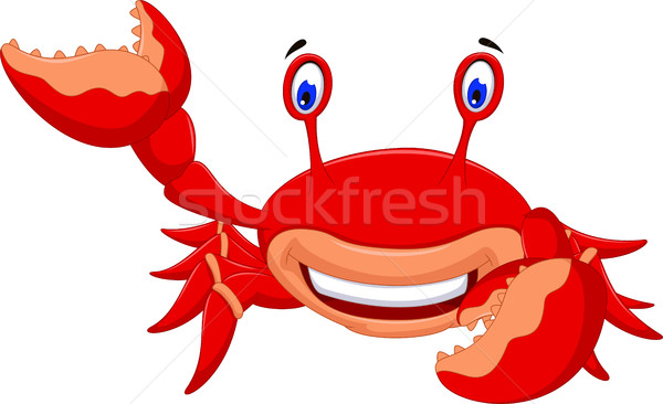cute crab cartoon smiling Stock photo © jawa123