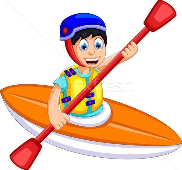 Funny nino Cartoon jugar rafting ninos Foto stock © jawa123