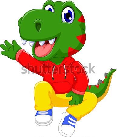 смешные динозавр Cartoon играет футбола спорт Сток-фото © jawa123