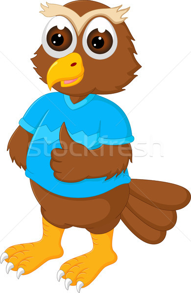 cute owl cartoon standing with smile and thumb up Stock photo © jawa123