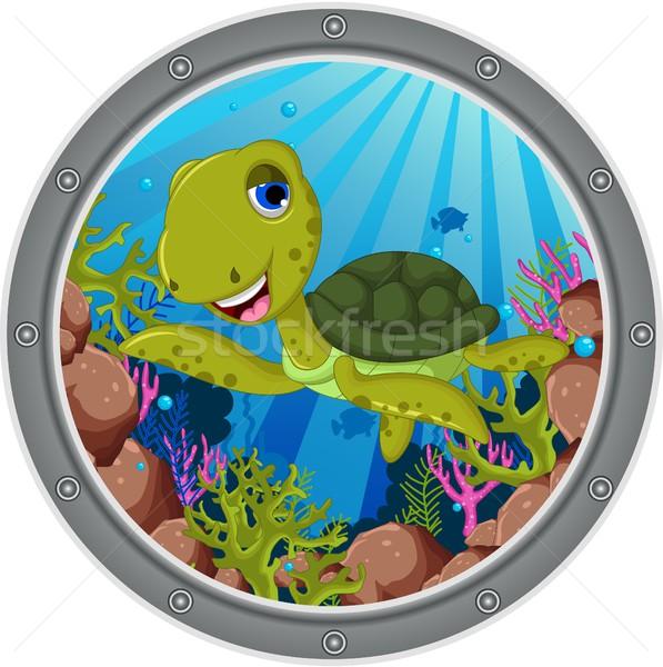Mare tartaruga cartoon felice bambino verde Foto d'archivio © jawa123