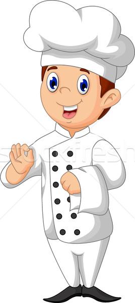 Aranyos szakács rajz háttér konyha tányér Stock fotó © jawa123
