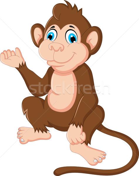 cute monkey cartoon sitting Stock photo © jawa123