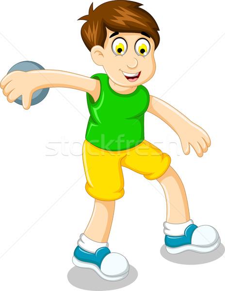 cute boy athlete doing discus throwing Stock photo © jawa123