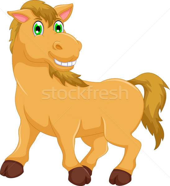 cute horse cartoon look at camera Stock photo © jawa123