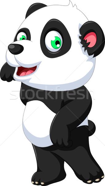 Aranyos panda rajz pózol kezek baba Stock fotó © jawa123