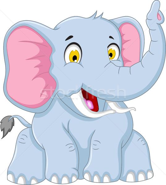 cute elephant cartoon sitting Stock photo © jawa123