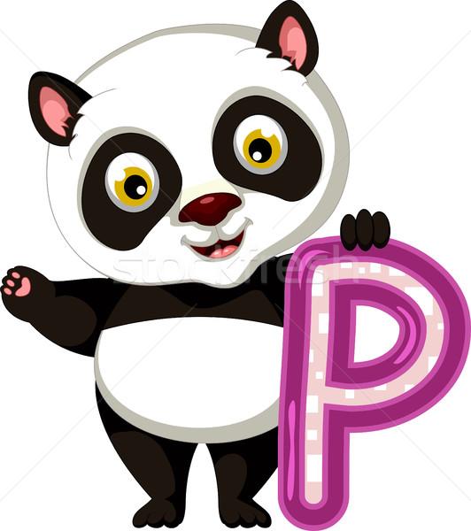 Komik panda karikatür siyah genç ayı Stok fotoğraf © jawa123