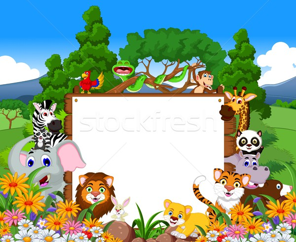 animal cartoon collection with blank board and tropical forest background Stock photo © jawa123
