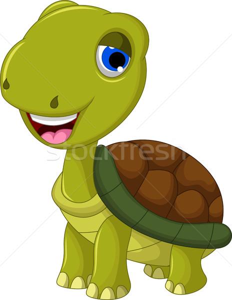 Cortar desenho animado tartaruga projeto diversão engraçado Foto stock © jawa123