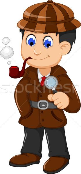 Sevimli dedektif karikatür poz adam Stok fotoğraf © jawa123