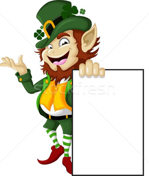 Boldog manó üres tábla terv felirat zöld Stock fotó © jawa123