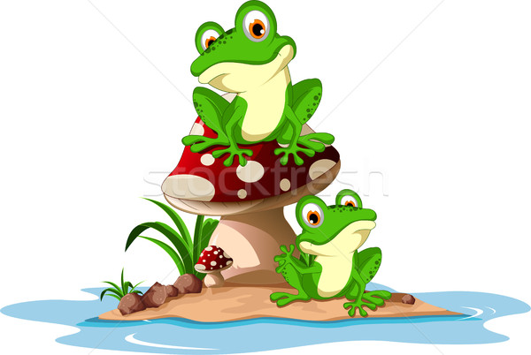 Funny frog sitting on mushroom Stock photo © jawa123
