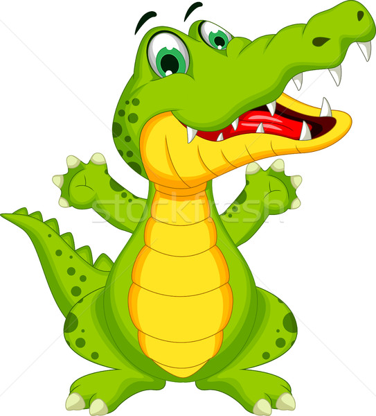 Grappig krokodil cartoon poseren glimlach achtergrond Stockfoto © jawa123