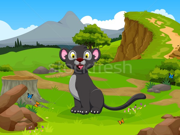 funny black panther cartoon in the jungle with landscape background Stock photo © jawa123
