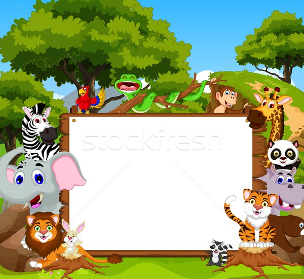 funny animal cartoon with blank sign and forest background Stock photo © jawa123