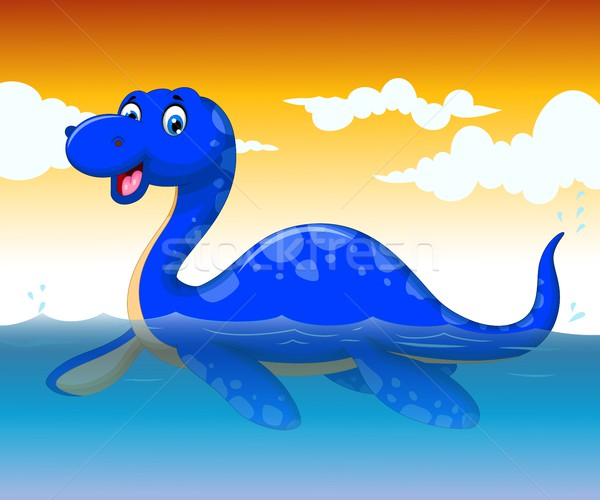 Stock fotó: Vicces · dinoszaurusz · rajz · úszik · tenger · élet