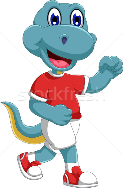 смешные динозавр Cartoon бег фитнес Сток-фото © jawa123
