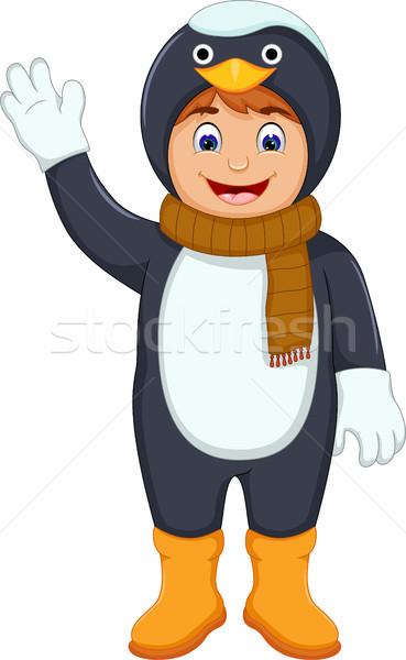 cute boy cartoon with penguin costume Stock photo © jawa123