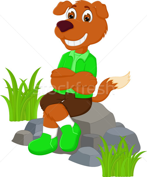 смешные собака Cartoon сидят смеясь Сток-фото © jawa123