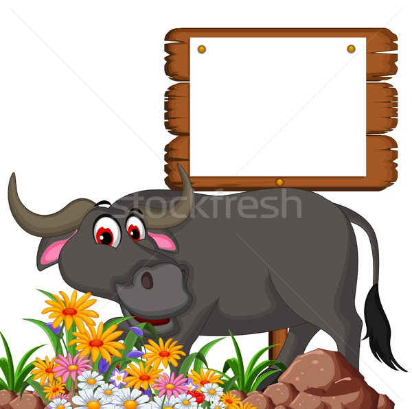 cute buffalo cartoon posing with blank board for you design Stock photo © jawa123