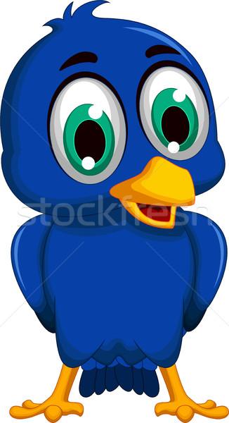 cute blue bird cartoon posing Stock photo © jawa123