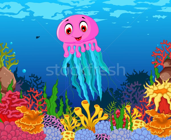 смешные медуз Cartoon красоту морем жизни Сток-фото © jawa123