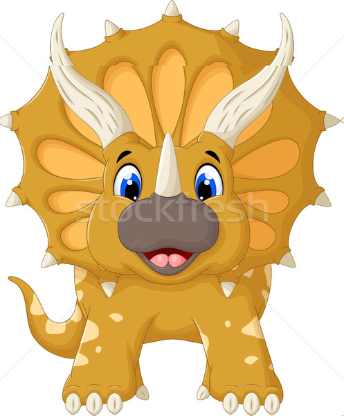funny Triceratops cartoon look at camera Stock photo © jawa123
