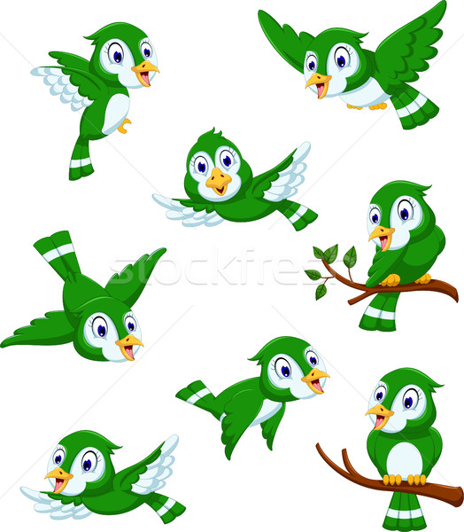 set of green bird cartoon posing Stock photo © jawa123