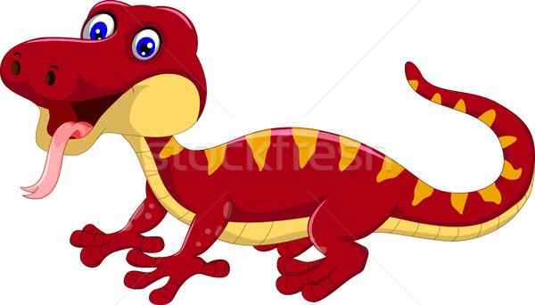 Rood gekko cartoon poseren jonge vreugde Stockfoto © jawa123
