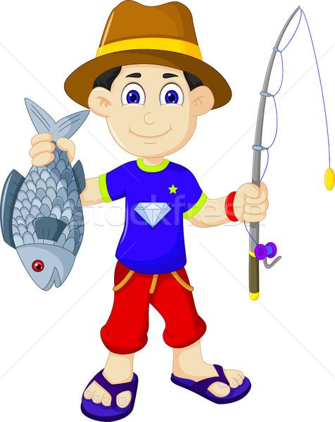 funny fishermen get a fish Stock photo © jawa123