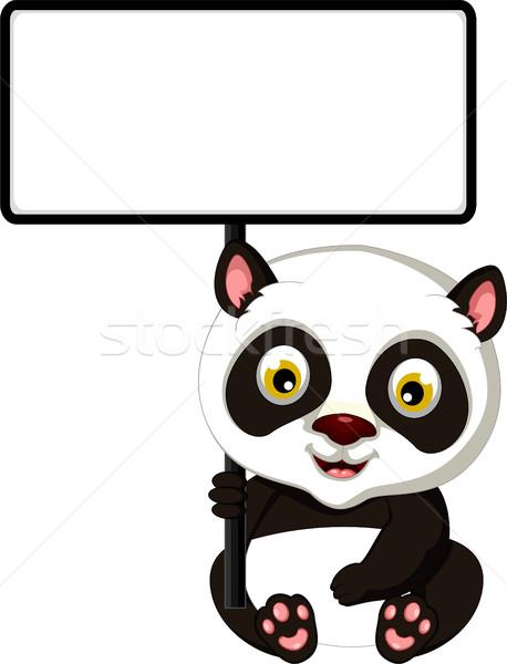 Panda cartoon vergadering zwarte jonge Stockfoto © jawa123