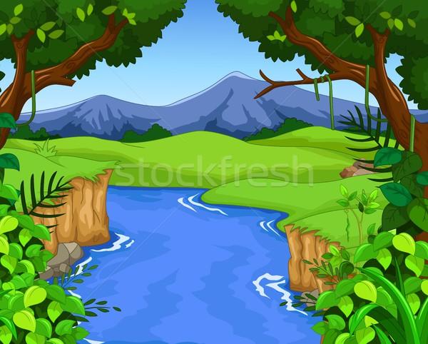 зеленый лес реке небе пейзаж горные Сток-фото © jawa123