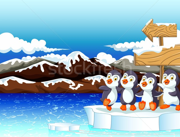 funny penguins cartoon under sign board with snow mountain background Stock photo © jawa123