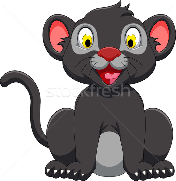 cute black panther sitting Stock photo © jawa123