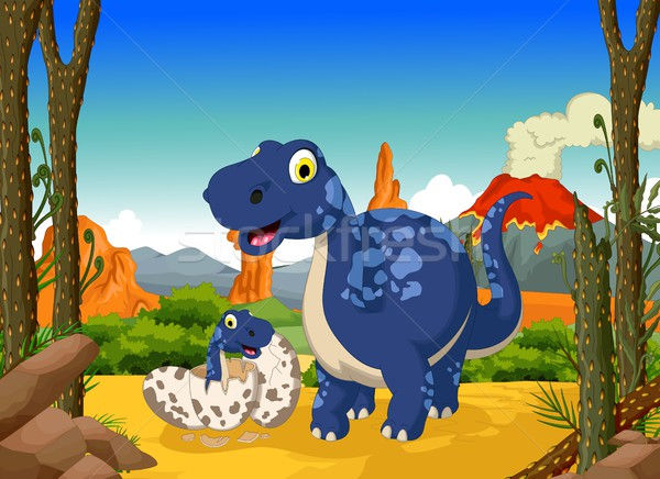 funny cute dinosaur cartoon with her baby in the jungle Stock photo © jawa123