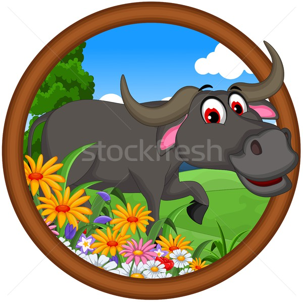 Stock photo: cute buffalo cartoon posing