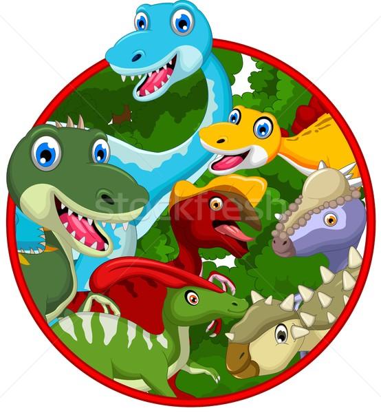 Dinosaur cartoon collection in frame Stock photo © jawa123