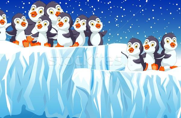 funny family penguin cartoon with snow mountain landscape background Stock photo © jawa123