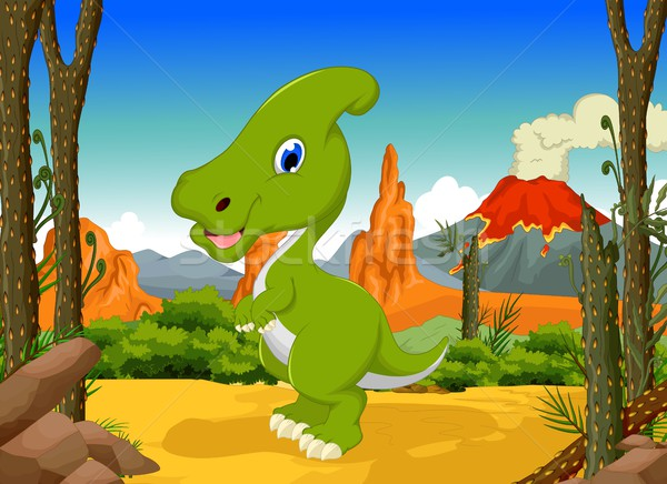 Stock photo: funny Dinosaur Parasaurolophus cartoon with forest landscape background