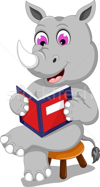 Engraçado rinoceronte desenho animado sessão leitura livro Foto stock © jawa123