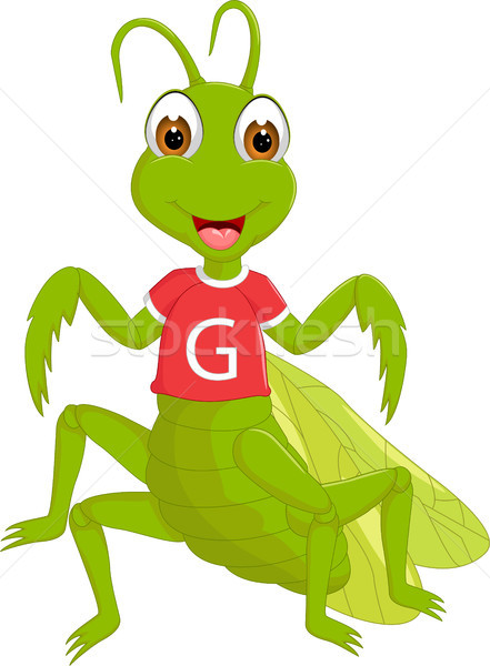 cute grasshopper cartoon standing with waving and smile Stock photo © jawa123