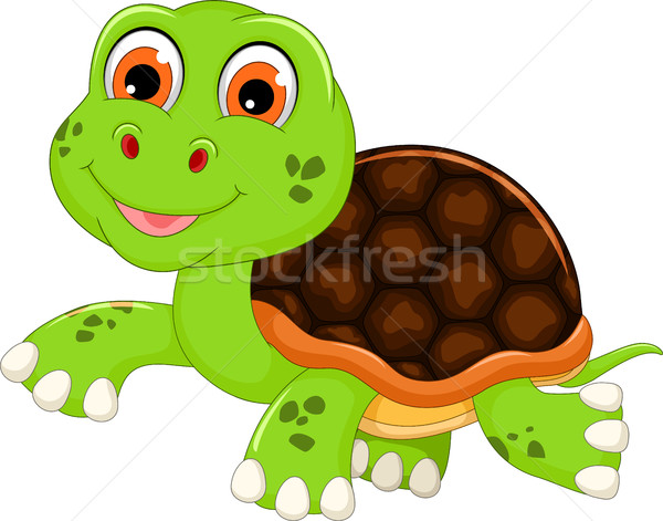 Stock photo: cute baby turtle cartoon walking