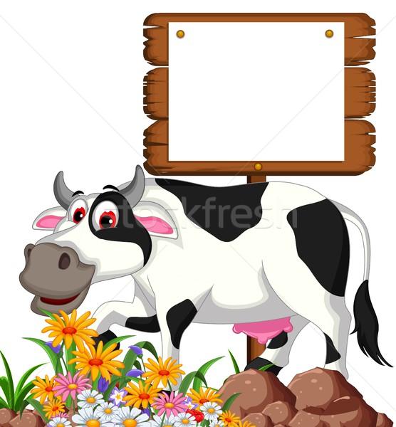 корова Cartoon позируют продовольствие улыбка Сток-фото © jawa123