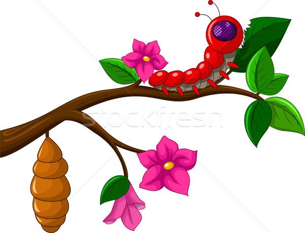 Foto stock: Lagarta · desenho · animado · coleção · feliz · olhos · fundo