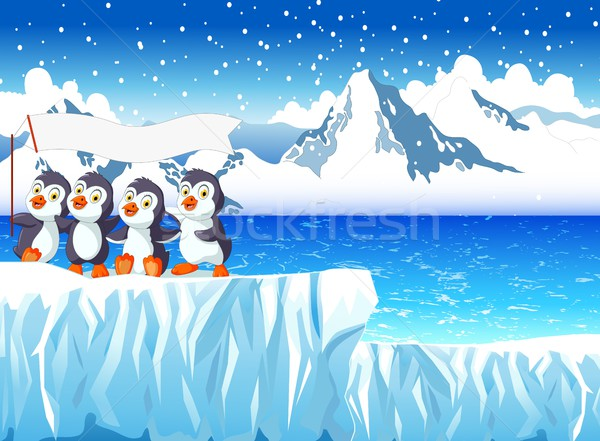 funny penguins cartoon with snow mountain landscape background Stock photo © jawa123