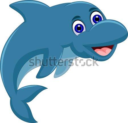 смешные дельфин Cartoon дизайна счастливым природы Сток-фото © jawa123