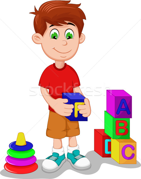 cute boy cartoon playing lego Stock photo © jawa123